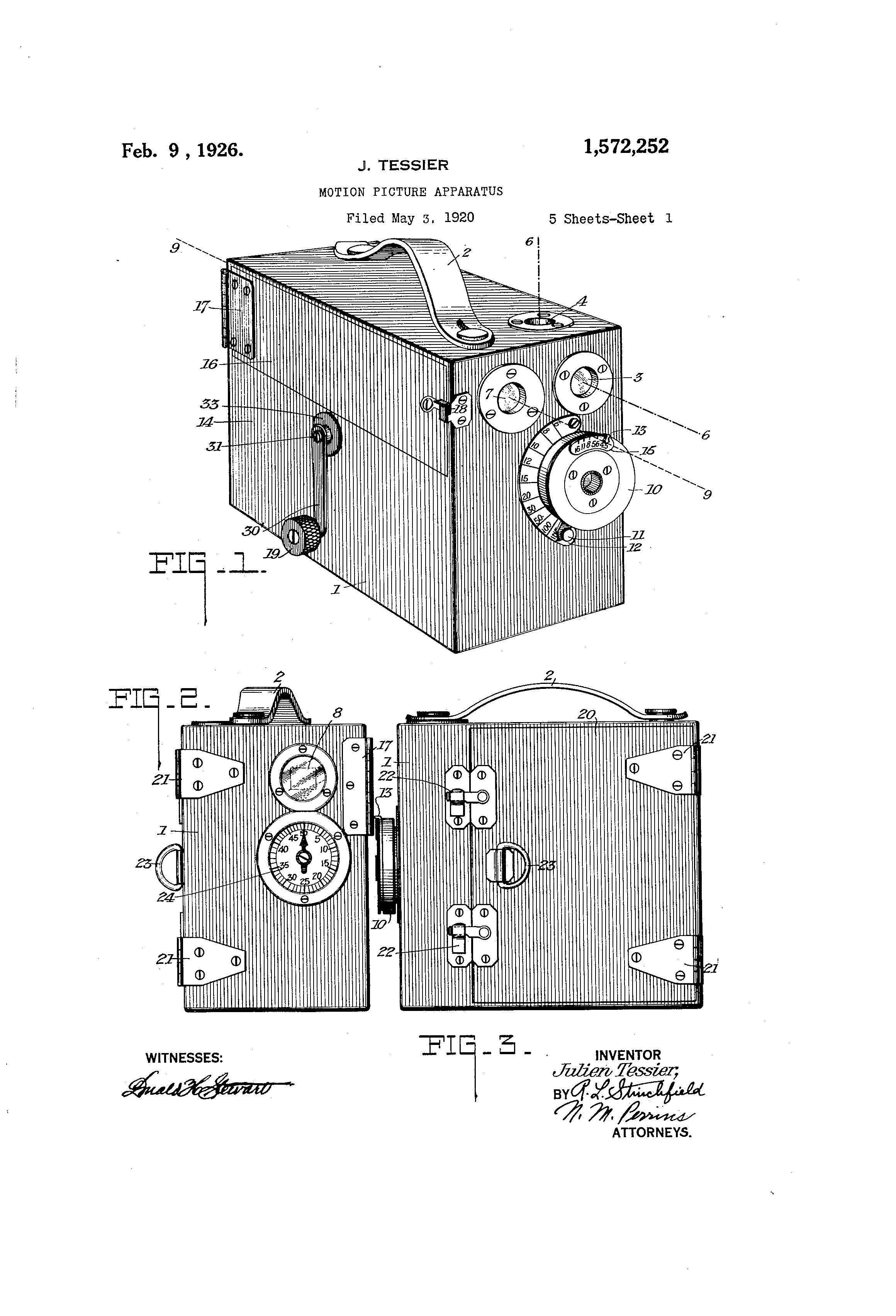 1920 05 03 US1572252 Motion Picture Apparatus
