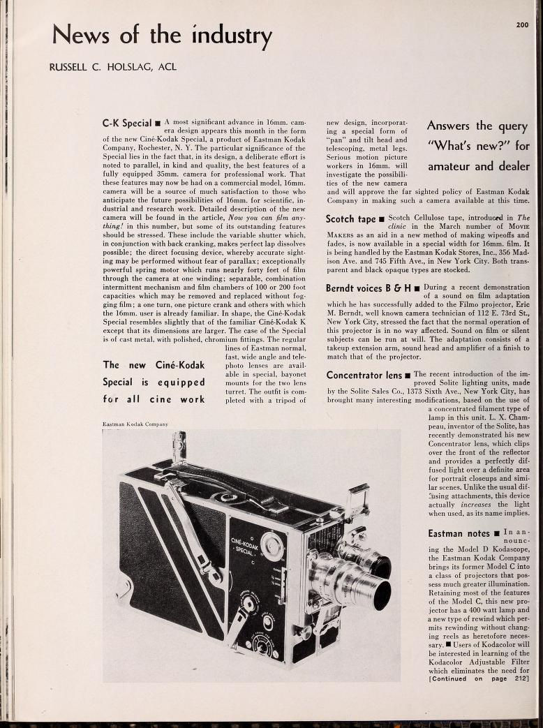 "Ciné Kodak ""Special"" - Annonce Movie Makers Mai 1933"