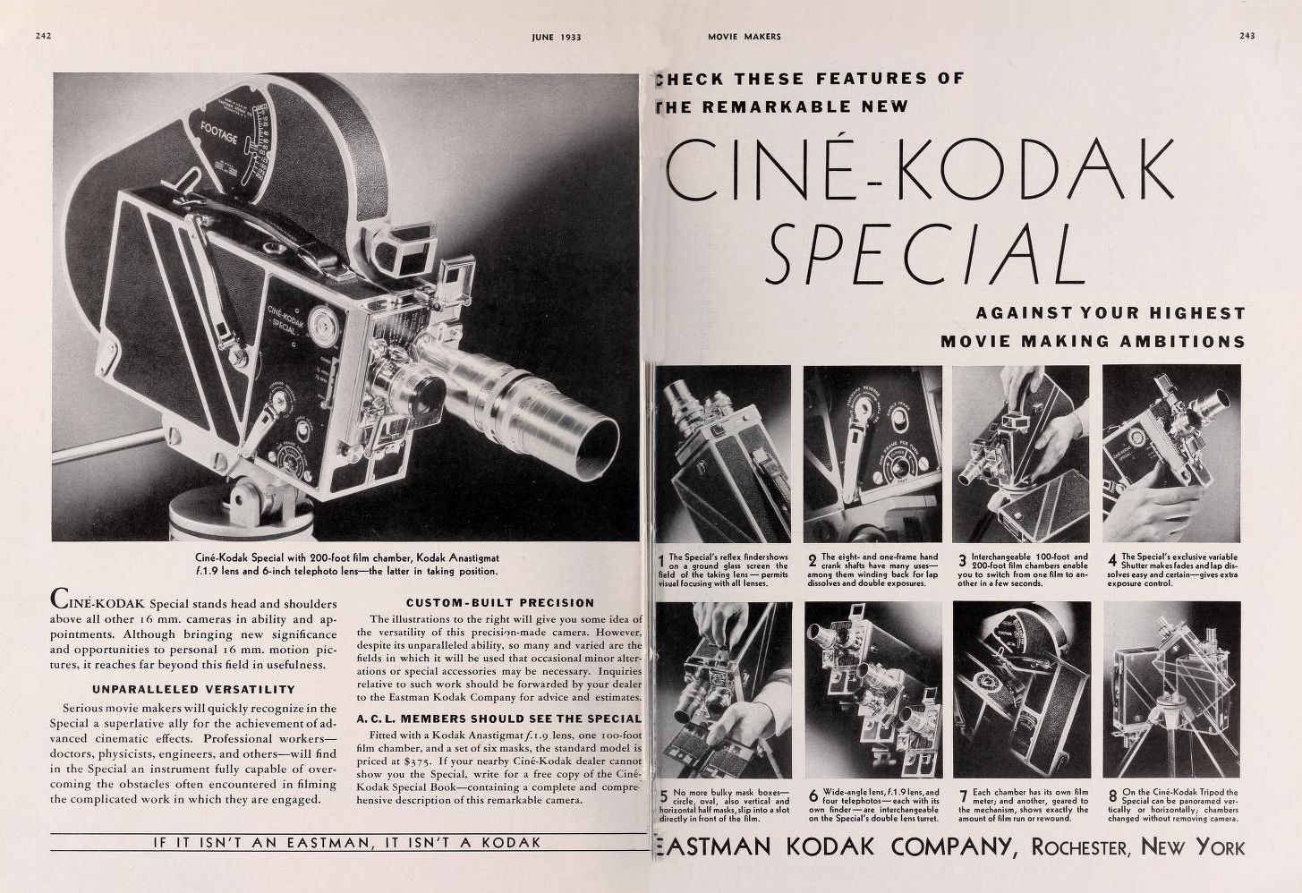 "Ciné Kodak ""Special"" - Movie Maker Juin 1933"