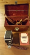 Paillard Bolex C8 Movie Camera in original leather case, + 'Mini Rex'Lightmeter